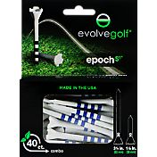 "Evolve Golf Epoch S3 3.25"" & 1.5"" White Golf Tee Combo – 40-Pack"