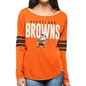 '47 Women's Cleveland Browns Courtside Orange Long Sleeve Shirt