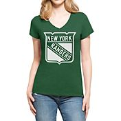 '47 Women's St. Patty's Day New York Rangers Club Logo V-Neck T-Shirt