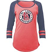 5th & Ocean Women's St. Louis Cardinals Red Tri-Blend Three-Quarter Sleeve Shirt