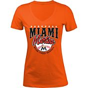 5th & Ocean Women's Miami Marlins Orange V-Neck T-Shirt