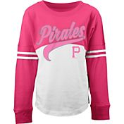 5th & Ocean Youth Girls' Pittsburgh Pirates Pink/White Three-Quarter Sleeve Shirt