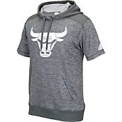 adidas Men's Chicago Bulls Pre-Game Grey Short Sleeve Hoodie