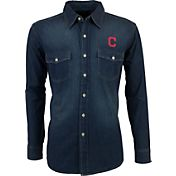Antigua Men's Cleveland Indians Chambray Button-Up Long Sleeve Shirt