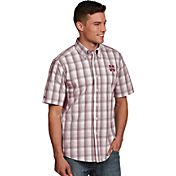 Antigua Men's Mississippi State Bulldogs Maroon Plaid Short Sleeve Button Down Shirt