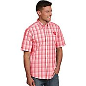Antigua Men's Nebraska Cornhuskers Scarlet Plaid Short Sleeve Button Down Shirt