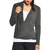 CALIA by Carrie Underwood Women's Plus Size Front Wrap Heather Long Sleeve Shirt