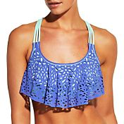 CALIA by Carrie Underwood Women's Laser Cut Flounce Bikini Top