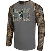 Colosseum Athletics Men's Michigan State Spartans Grey/Camo Break Action Long Sleeve Shirt