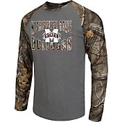 Colosseum Athletics Men's Mississippi State Bulldogs Grey/Camo Break Action Long Sleeve Shirt