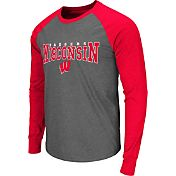 Colosseum Men's Wisconsin Badgers Grey Olympus Long Sleeve Shirt