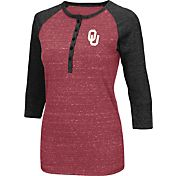 Colosseum Women's Oklahoma Sooners Crimson Three-Quarter Sleeve Henley Shirt