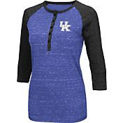 Colosseum Women's Kentucky Wildcats Blue Three-Quarter Sleeve Henley Shirt