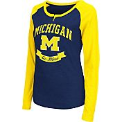 Colosseum Athletics Women's Michigan Wolverines Blue Healy Long Sleeve Shirt