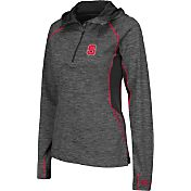 Colosseum Women's NC State Wolfpack Grey Downhill Quarter-Zip Hooded Wind Shirt