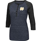 Colosseum Women's Notre Dame Fighting Irish Navy Three-Quarter Sleeve Henley Shirt