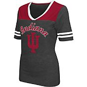Colosseum Athletics Women's Indiana Hoosiers Grey Twist V-Neck T-Shirt