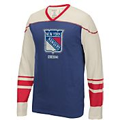 CCM Men's New York Rangers Applique Royal/Red Long Sleeve T-Shirt