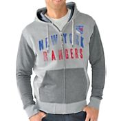 G-III Men's New York Rangers Grey Safety Full Zip Hoodie
