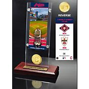 Highland Mint Cleveland Indians World Series Ticket and Bronze Coin Acrylic Desktop Display