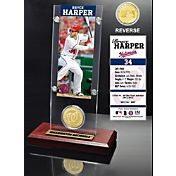 Highland Mint Bryce Harper Washington Nationals Ticket and Bronze Coin Acrylic Desktop Display