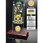 The Highland Mint Green Bay Packers Aaron Rodgers Ticket and Bronze Coin Desktop Display
