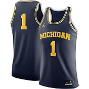 Jordan Men's Michigan Wolverines #1 Blue Authentic Basketball Jersey