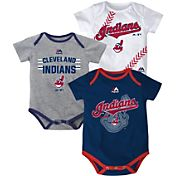 Majestic Infant Cleveland Indians Three-Piece Onesie Set