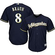 Majestic Men's Replica Milwaukee Brewers Ryan Braun #8 Cool Base Alternate Road Navy Jersey