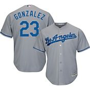 Majestic Men's Replica Los Angeles Dodgers Adrian Gonzalez #23 Cool Base Road Grey Jersey