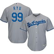 Majestic Men's Replica Los Angeles Dodgers Hyun-jin Ryu #99 Cool Base Road Grey Jersey