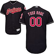 Majestic Men's Custom Authentic Cleveland Indians Flex Base Alternate Navy On-Field Jersey