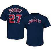 Majestic Men's Los Angeles Angels Mike Trout #27 Navy T-Shirt
