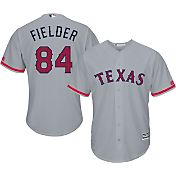 Majestic Men's Replica Texas Rangers Prince Fielder #84 2016 4th of July Cool Base Road Grey Jersey