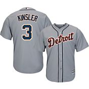 Majestic Men's Replica Detroit Tigers Ian Kinsler #3 Cool Base Road Grey Jersey
