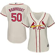 Majestic Women's Replica St. Louis Cardinals Adam Wainwright #50 Cool Base Alternate Ivory Jersey