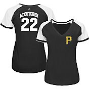 Majestic Women's Pittsburgh Pirates Andrew McCutchen #22 Black/White Raglan V-Neck T-Shirt
