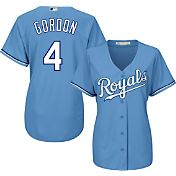 Majestic Women's Replica Kansas City Royals Alex Gordon #4 Cool Base Alternate Light Blue Jersey