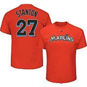Majestic Youth Replica Miami Marlins Giancarlo Stanton #27 Orange T-Shirt