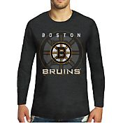 Majestic Threads Men's Boston Bruins Tri-Blend Black Long Sleeve T-Shirt