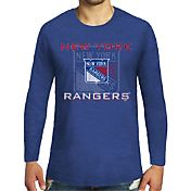Majestic Threads Men's New York Rangers Tri-Blend Royal Long Sleeve T-Shirt