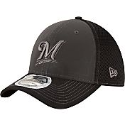 New Era Men's Milwaukee Brewers 39Thirty Grey/Black Shadow Reflect Flex Hat
