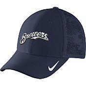 Nike Men's Milwaukee Brewers Dri-FIT Navy Vapor Classic Swoosh Flex Fitted Hat