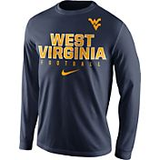 Nike Men's West Virginia Mountaineers Blue Football Practice Long Sleeve Shirt