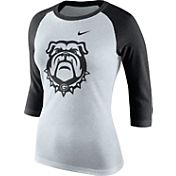 Nike Women's Georgia Bulldogs Oatmeal/Black Raglan ¾ Sleeve Shirt