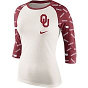 Nike Women's Oklahoma Sooners Cream/Crimson Veer Tri-Blend Three-Quarter Raglan Shirt