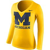 Nike Women's Michigan Wolverines Maize Mid-V Logo Long Sleeve Shirt
