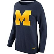 Nike Women's Michigan Wolverines Blue Champ Drive Boyfriend Crew Sweatshirt