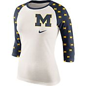 Nike Women's Michigan Wolverines Cream/COLOR Veer Tri-Blend Three-Quarter Raglan Shirt