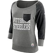 Nike Women's Pittsburgh Steelers Tailgate Vintage Crew Grey Long Sleeve Shirt